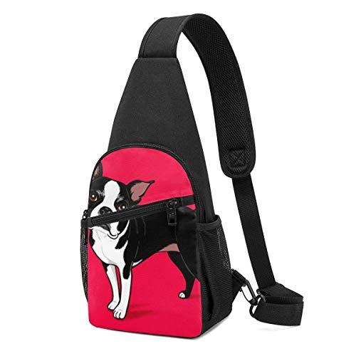 Hdadwy Boston Terrier Dog Red Sling Mochila, Viaje Senderismo Bolso de hombro Bolso informal para el pecho de los hombres