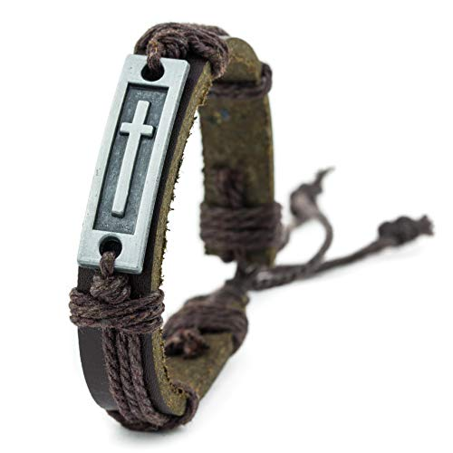 Cross Leather Bracelet for Men: Confirmation Gifts for Teenage Boys or First Communion (Brown)