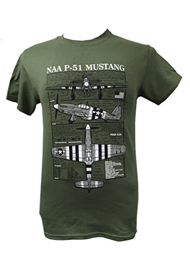 T-shirt P-51 Mustang - US Aircraft/Military avec motif blueprint - vert - XXL
