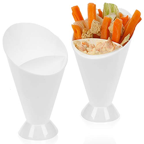 Set of Plastic White Snack Chips Dipper Cone Dip Sauce Vegetables Holder Cup (Set of 2)
