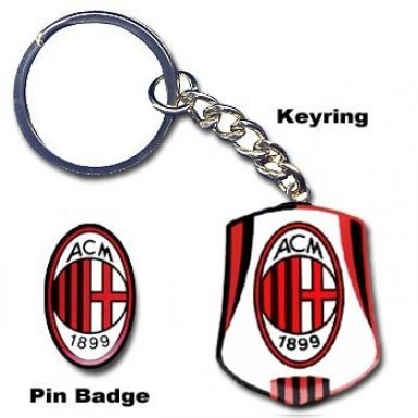 AC Milan Crest Sleutelhanger & Pin Badge Set