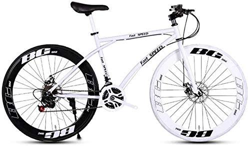 YXWJ Bicicletas Bicicletas de montaña Unisex Doble Freno de Disco 24 de Velocidad de Marcha Adulto de Bicicletas de Carreras Obra de la Escuela for Transporte Negro portátil y Color Blanco