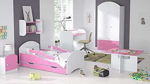 Children's Beds Home - Cama Individual Oscar - Para Niños Niños Niño Niño Junior - Tamaño 180x80, Color Blanco - Rosa, Cajón No, Colchón 12 cm de Alta Resistencia Látex