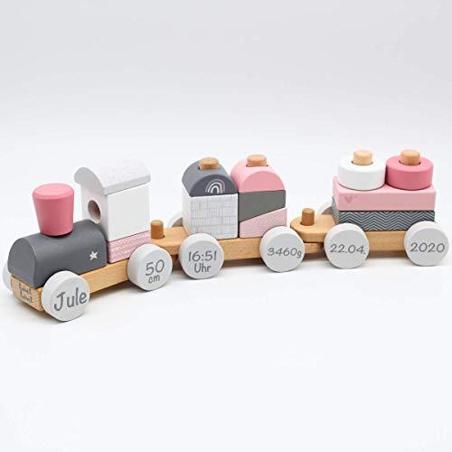 Babygeschenk zum 1. Geburtstag & Geburt Mädchen - Personalisierte Eisenbahn Zug Holzeisenbahn Holzzug mit Steckformen rosa | Label-Label | Personalisiert mit Geburtsdaten und Namen