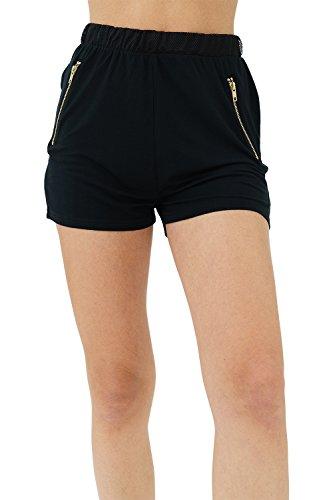 trueprodigy Casual Mujer Marca Jogger Pantalon Basico Ropa Retro Vintage Rock Vestir Moda Vintage Deportivo Slim Fit Designer Cool Urban Fashion Pantalones Cortos Color Negro 6582502-2999-XL