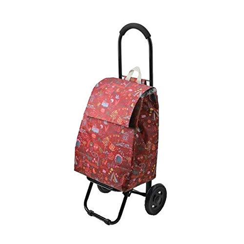 ほのぼのしたかわいいプリント入りのカート CHARMISS ショッピングカート メルヘンチック柄 15-5016 レッド 〈簡易梱包