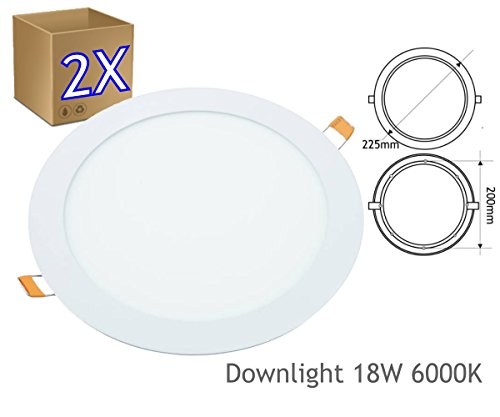 JANDEI - 2x Downlight LED 18W Redondo Plano De Empotrar Luz Blanca Fría 6000K, Aluminio Aro Blanco Mate, Para Hueco De 200-205mm Blanco …