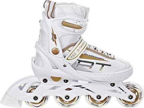 RAVEN Inline Skates Inliner Profession verstellbar (White/Gold, 38-42(25cm-27,5cm))