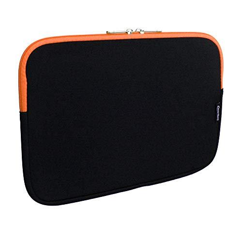 emartbuy Jet Schwarz/Orangefarben Wasserdicht Neopren Soft Zip Case Cover Hülle 11-12.2 Zoll Kompatibel Mit Ausgewählte Geräte Unten Aufgeführt