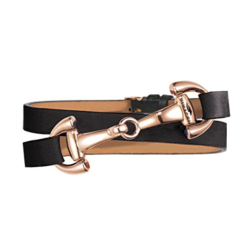 Snaffle Bracelet | DIMACCI | Favorite Collection | Jewelry for Riders | Gift Idea for Horse Lovers | Rider Jewelry (Black, Stainless Steel rosé-gold)