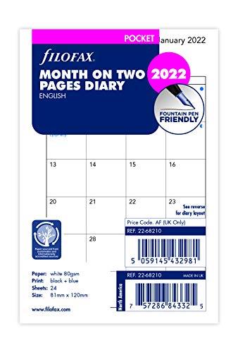 Filofax Agenda tascabile 2022 con due pagine in lingua inglese