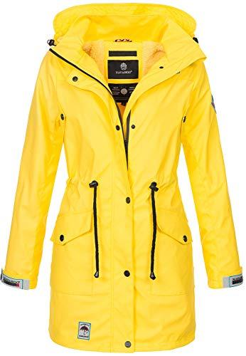 Navahoo Damen Softshell Jacke Winterjacke wasserabweisend Outdoor lang B678 [B678-Deik-Gelb-Gr.M]
