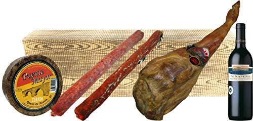 Cesta de Navidad Barata con Jamón, Queso, Chorizo, Salchichón y Vino.