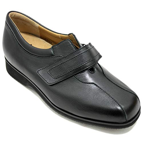 Alviflex 7482 - Zapato Clásico Cerrado De Mujer Ancho Especial Pies Delicados De Piel Negra Plantilla Extraible con Velcro - Negro, 37