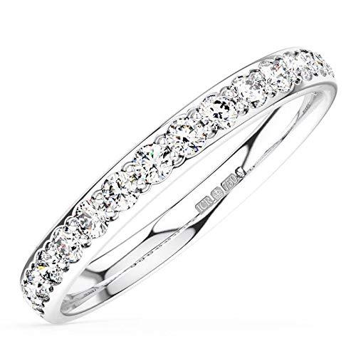 Anillo de media eternidad de diamantes redondos de talla brillante de 3 mm, 0,40 quilates en oro blanco