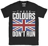 6TN - Camiseta para hombre, diseño de bandera de Reino Unido Negro Negro ( L