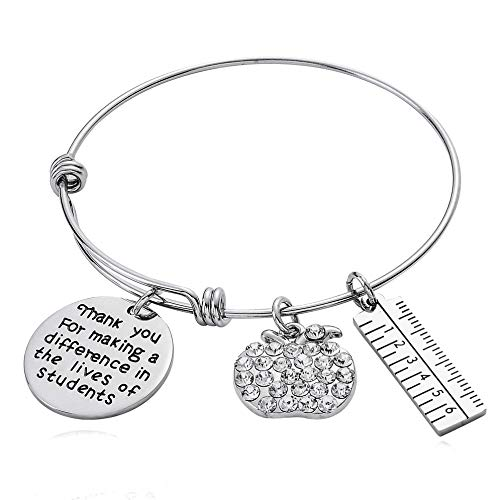 Teachers Appreciation Gifts Teacher Bracelets Bangles Jewellery Thank You Gifts For Women Christmas Presents (Thank You For Making A Difference In The Lives Of Students)
