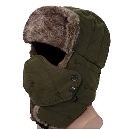 HunterBee Wintermütze mit Ohrenklappen Warme Trappermütze / jagdmütze Fliegermütze mit maske winddichte für Herren und Damen-Armee Grün