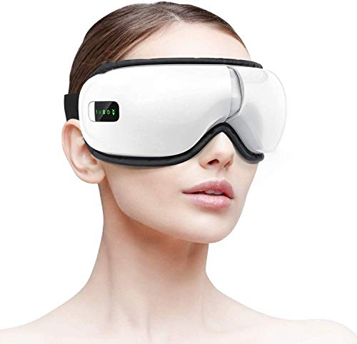 Electric Eye Massager with Heat, Air Pressure, Vibration, Bluetooth Music Eye Mask Machine Relieving Dry Eyes, Eye Fatigue, Eye and Temple Massager Improving Blood Circulation & Sleeping Quality