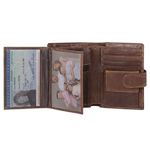 flintronic® Billetera de Cuero Genuino, Billetera Bifold Hombres, Monedero de Bloqueo RFID, Titular de la Tarjeta de Crédito con Coin Pocket | 14 Ranuras para Tarjetas(Incluye Organizador de Cable)