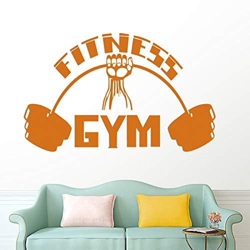 ASFGA Running Fitness Decal Fitness Poster Vinyl Muscle Tatuajes de Pared decoración Mural Dumbbell Sticker Club Atleta Decal Gym Fancy Bedroom Wings Car Sticker 40x64cm