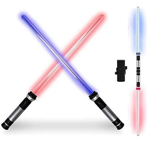 Espadas Láser Telescópicas, 2 en 1 LED Glow Stick Toy de Plegables con Sonido, Juguetes de Juego de Batalla de Espada Láser para Niños para Fiestas de Disfraces de Halloween