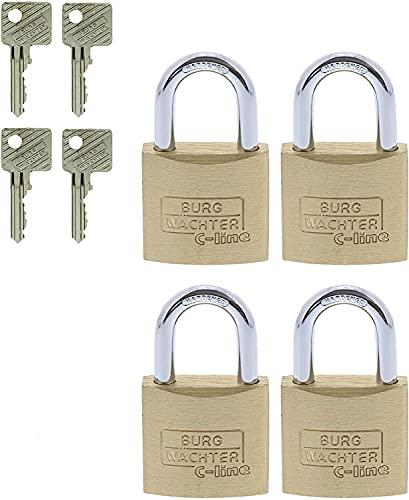 BURG-WÄCHTER Vorhängeschloss, 4er-Set, 5 mm Bügelstärke, 4 Schlüssel, Quadro 222 30 SB