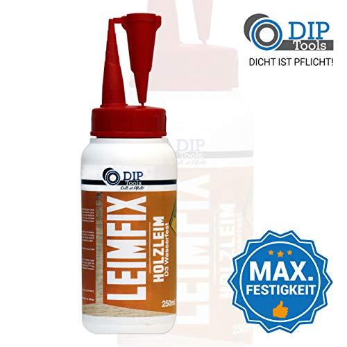 DIP-Tools LEIMFIX Cola Madera Impermeable con una Fuerza Adhesiva Extra Rápida y Máxima - Cola de Bajo Olor en Calidad D3 de la Botella Confort - Transparente Después del Secado (250ml)