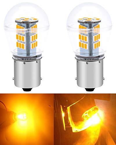 ALOPEE Paquete de 2 1156 BA15S 1141 1003 7506 1073 Luz LED ámbar/Amarilla Extremadamente Brillante 9-30V-DC, 2835 33 SMD Bombillas de Repuesto para Luces Intermitentes Intermitentes