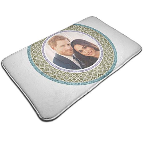 HUTTGIGH Green Harry And Meghan Royal Wedding Decorative Plate Door Mat Entrance Non-Slip Bath Mat Kitchen Floor Carpet Mat 19.5 X 31.5 Inch Absorbent Area Rugs