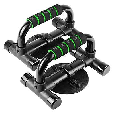 NAKO プッシュアップバー 腕立て伏せ シットアップ 吸盤 筋肉トレーニング ダイエット 金属製 2個セット (グリーン)