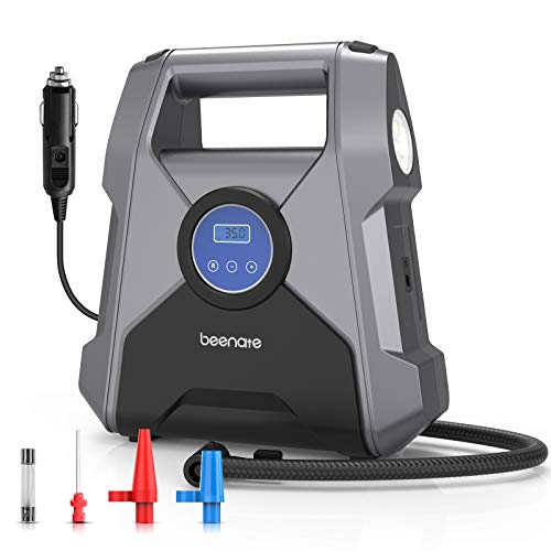 Beenate Portable Air Compressor, Digital Tire Inflator, 12V Dc Auto Air Pump Auto Pump Shut Off for Car Tires, 100 Psi with Emergency Led Flashlight for Car, Motorcycles, Bicycles, Inflatables