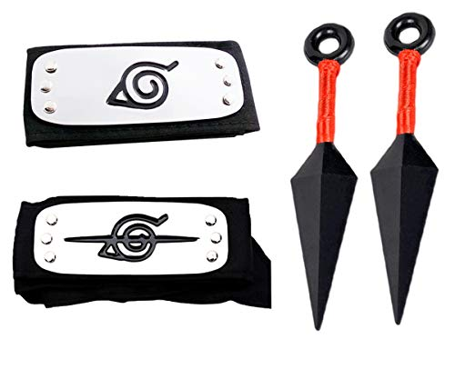 Leaf Village Headband and Anti Leaf Village Headband 2 Pack Perfect for Ninja-Themed Costume,Cosplay Black