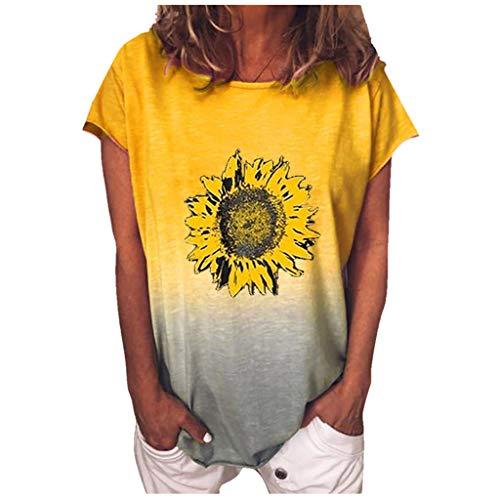 JUTOO Mode Frauen Gradient Sunflower Print O-Ausschnitt Kurzarm T-Shirt Bluse Tops(Gelb,XXL)