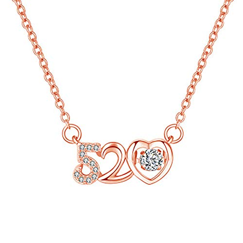 Hins Personalised Necklace for Women, Creative 520 Rhinestone Sports Necklace, Fashion Diamond Love Elegant Pendant Jewelry Gift for Wife, Mum and Girlfriend