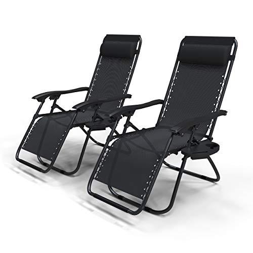 VOUNOT Liegestuhl Klappbar 2er Set, Relaxstuhl Garten mit Getränkehalter und Kopfpolster, Verstellbar Rückenlehne, Schwarz