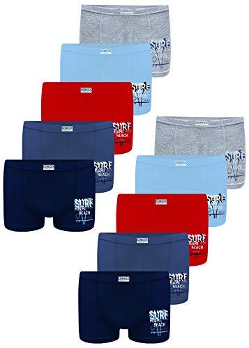 LOREZA ® 10 Pack Jungen Boxershorts aus Baumwolle Unterhosen (104-110 (4-5Jahre), Modell 2)