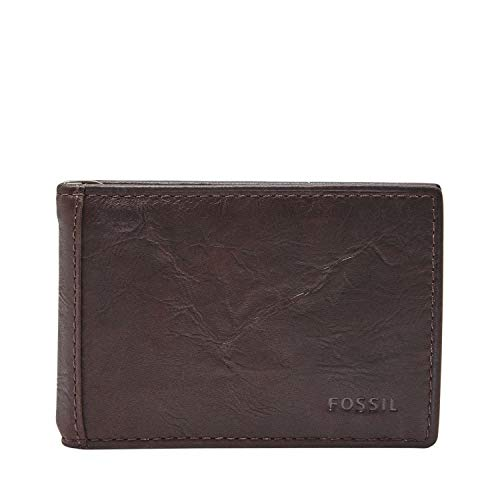 Fossil Men's Neel Leather Money Clip Bifold Wallet, brown, One Size
