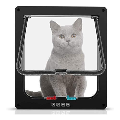 joyliveCY Katzenklappe Hundeklappe 4 Wege Magnet-Verschluss für Katzen/Hunde 20cmX 19.2cmX1.5cm, magnetisches Haustiertür-Kit,Hundetür Katzentür Haustierklappe-Schwarz(S)