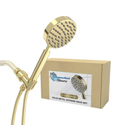 """All Metal Hand Held Shower Head with Hose and Holder, Polished Brass