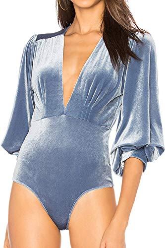Body Mujer Elegante Terciopelo Otoño Bodies Vintage Invierno Moda Mode De Marca V-Cuello Manga Linterna Elásticos Skinny Envolver El Cuerpo Monos Tops Unicolor (Color : Azul, Size : L)