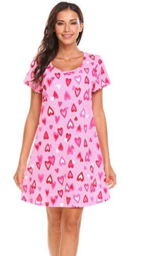 Sweetnight Women Short Sleeve Nightgowns Cute Printed Cotton Sleepwear Nightshirts