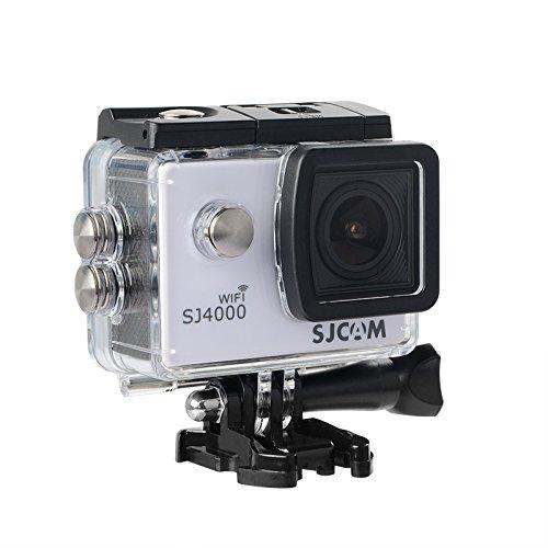 16GB TF Karte + Original SJCAM SJ4000 Wifi Action Kamera, HD 1080P WIFI Wasserdichte Sport Action Kamera H.264 12MP 170 Grad Weitwinkelobjektiv DV zum Tauchen Radfahren(White)