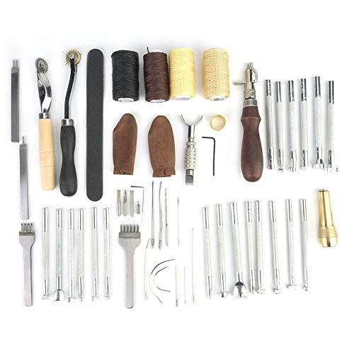 34 Stks Lederen Werken Gereedschap Kit met Hand Naaien Borduurwerk en Proctive Tool Stempelen en Zadel Maken Set voor DIY Leathercraft