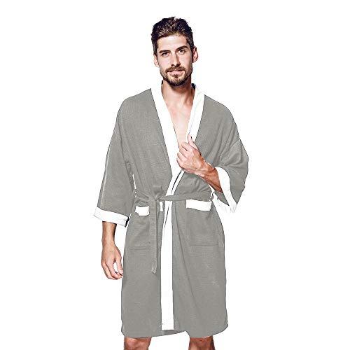 Badjas heren grote maten ochtendjas lang kimono nachtkleding sauna katoen pyjama herfst winter mode pajamas met zakken