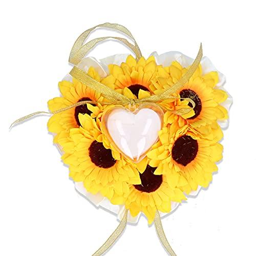 Yisenda Almohada para Anillos, Almohada para Anillos de Bodas Flor de Tela Elegante Amarilla con Funda en Forma de corazón para Intercambio de Anillos para Bodas