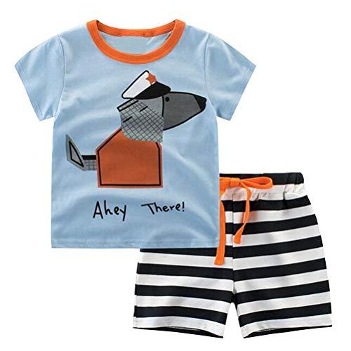 YOUNGSOUL Schlafanzug Jungen Kurz Baumwolle Kurzarm Pyjama mit hundemotiv Kinder Nachtwäsche Zweiteiler Hellblau Hund 98 / Größe 100cm