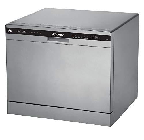 Candy CDCP 6S - Lavavajillas pequeño, Altura 43,8 cm, 6 servicios, 6 Programas, Sistema antidesbordamiento, Inicio diferido, Clase A+, 51dB, Inox