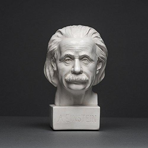 Albert Einstein Skulptur aus hochwertigem Zellan, echte Handarbeit Made in Germany, Büste in weiß, 18cm