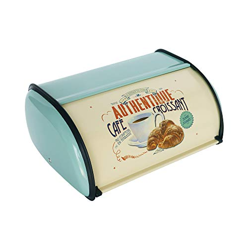 NIKKY HOME Retro Metal Roll Top Bread Box for Kitchen Countertop Farmhouse Bread Holder Storage Containers, Turquoise